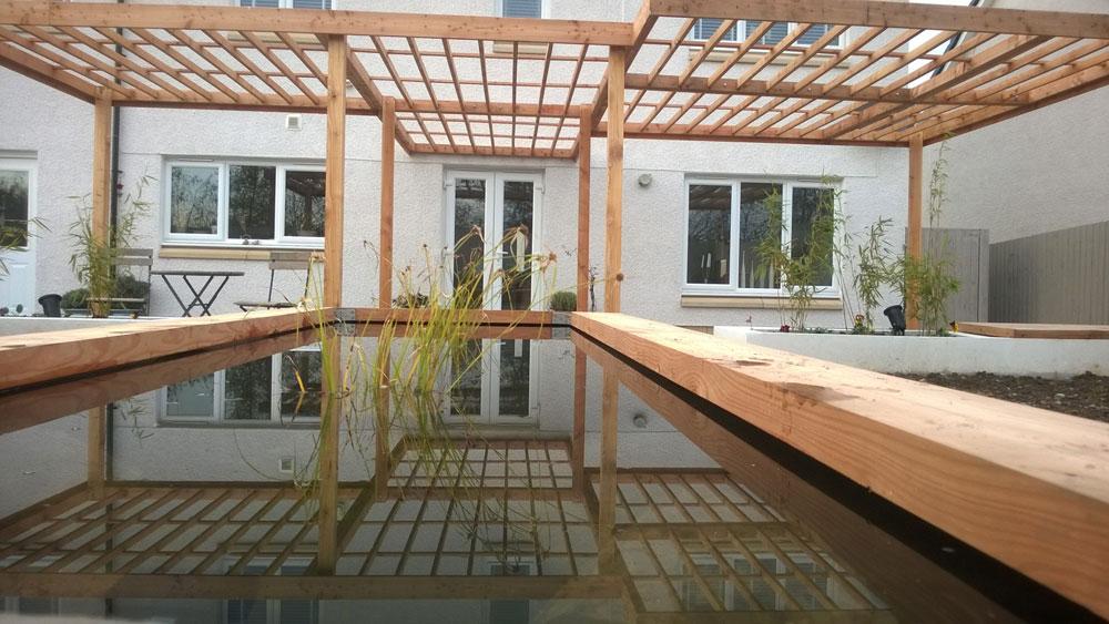 Timber pergola & pond