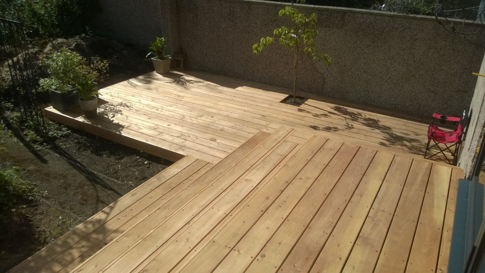 Decking from bi-fold doors.