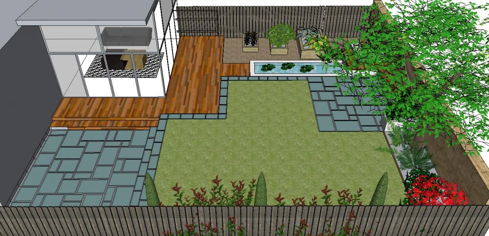garden design, Morningside Edinburgh, contemporary, water features, Paul Church gardens, garden lighting, decking.
