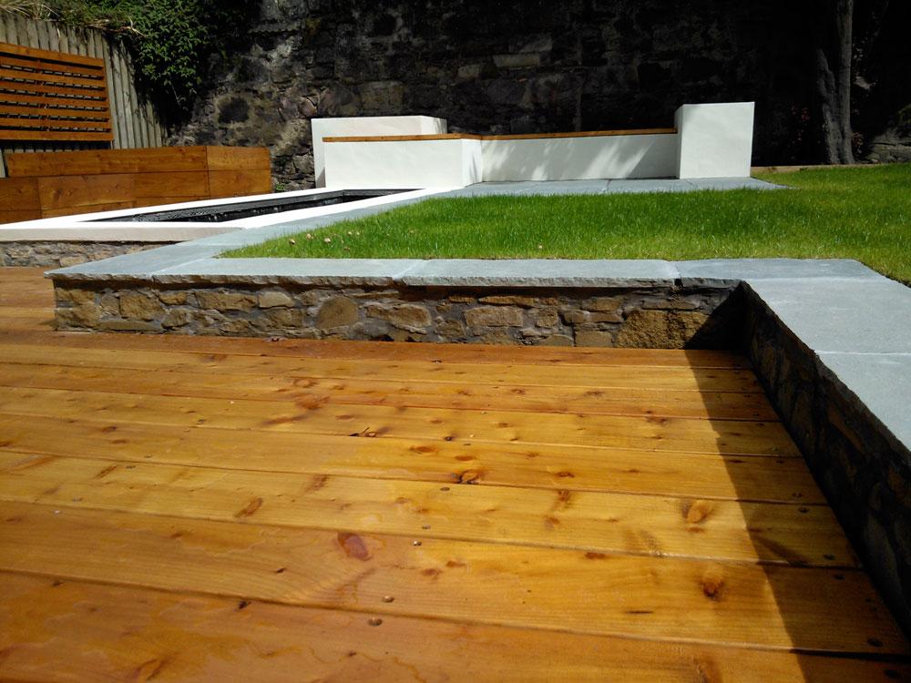 decking in modern garden