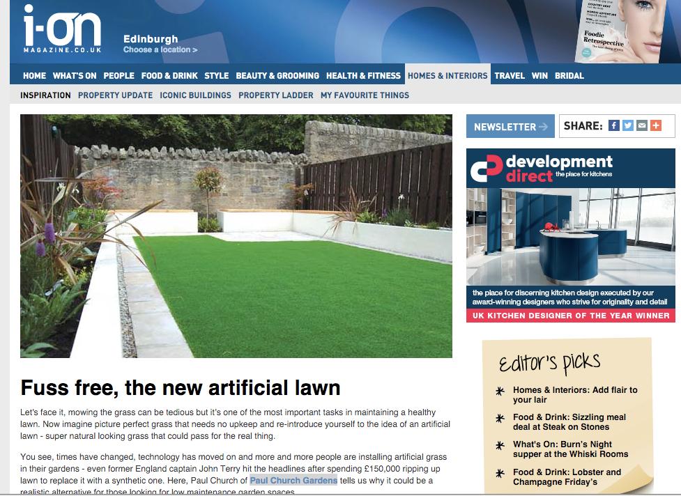 ion Edinburgh, artificial lawn services, garden services, landscape gardener, Paul Church